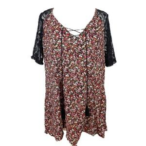 Torrid Lace Up Front Floral and Black Lace Top